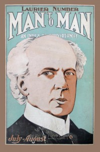 Laurier throws the reader a sidelong glance on the cover of Man-to-Man magazine (later rebranded as Westward Ho! and then British Columbia Magazine) published in Vancouver, ca.1910.