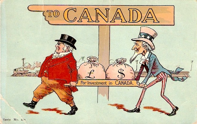 John Bull and Uncle Sam carry money for investment in Canada, guided by a sign pointing to Canada.