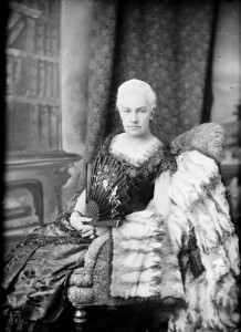 Lady Susan Agnes Macdonald (née Bernard) in 1886, only months before she demonstrated that Victorian ladies were not above riding a cowcatcher.