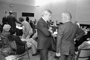 Alberta Premier Peter Lougheed (centre) and Québec Premier René Lévesque in 1981. (Photograph by Robert Cooper. Library and Archives of Canada)