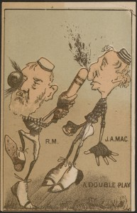 """An unusual – and unequivocally hostile – depiction of Macdonald (along with New Brunswick Conservative MP, Robert Moffatt) on an early """"baseball card,"""" ca.1885."""