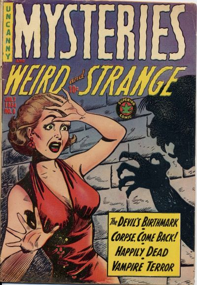 Cover of an issue of Mysteries Weird and Strange. Long description available.