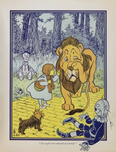 The American writer, Frank L. Baum, stuffed his most famous work, The Wizard of Oz, with references to current fiscal debates, including the Yellow Brick Road (made of gold bricks) and the Land of Oz (oz. = ounces, the standard measure for gold). Baum was also an advocate of genocidal campaigns against indigenous peoples in the West. (Artist: W.W. Denslow)