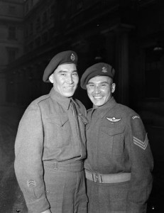 Brothers Tommy and Morris Prince – a sergeant and a private, respectively – at an event at Buckingham Palace, 1945.