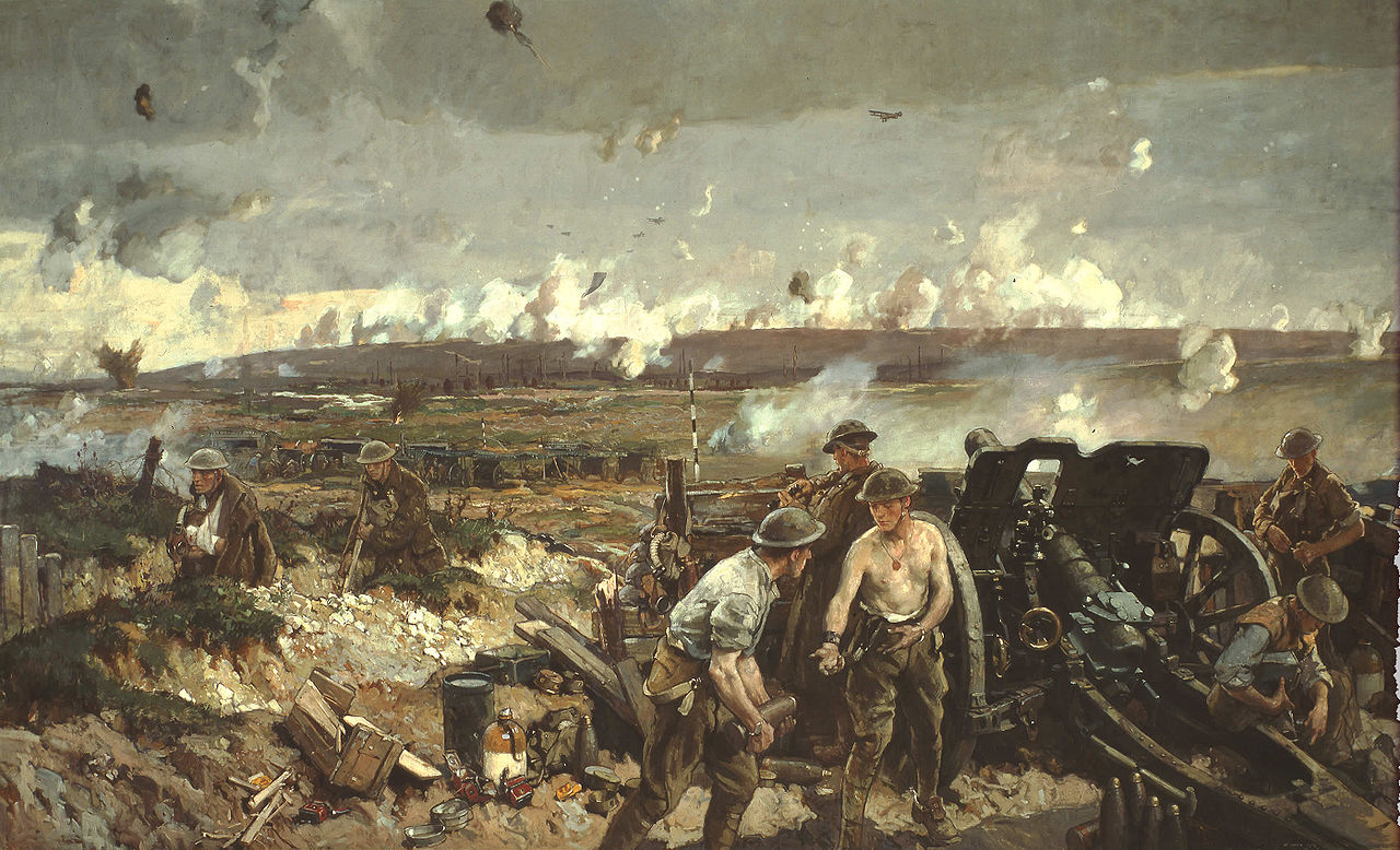 Oil painting of soldiers with domed helmets. Smoke is in the distance. Injured soldiers retreat.
