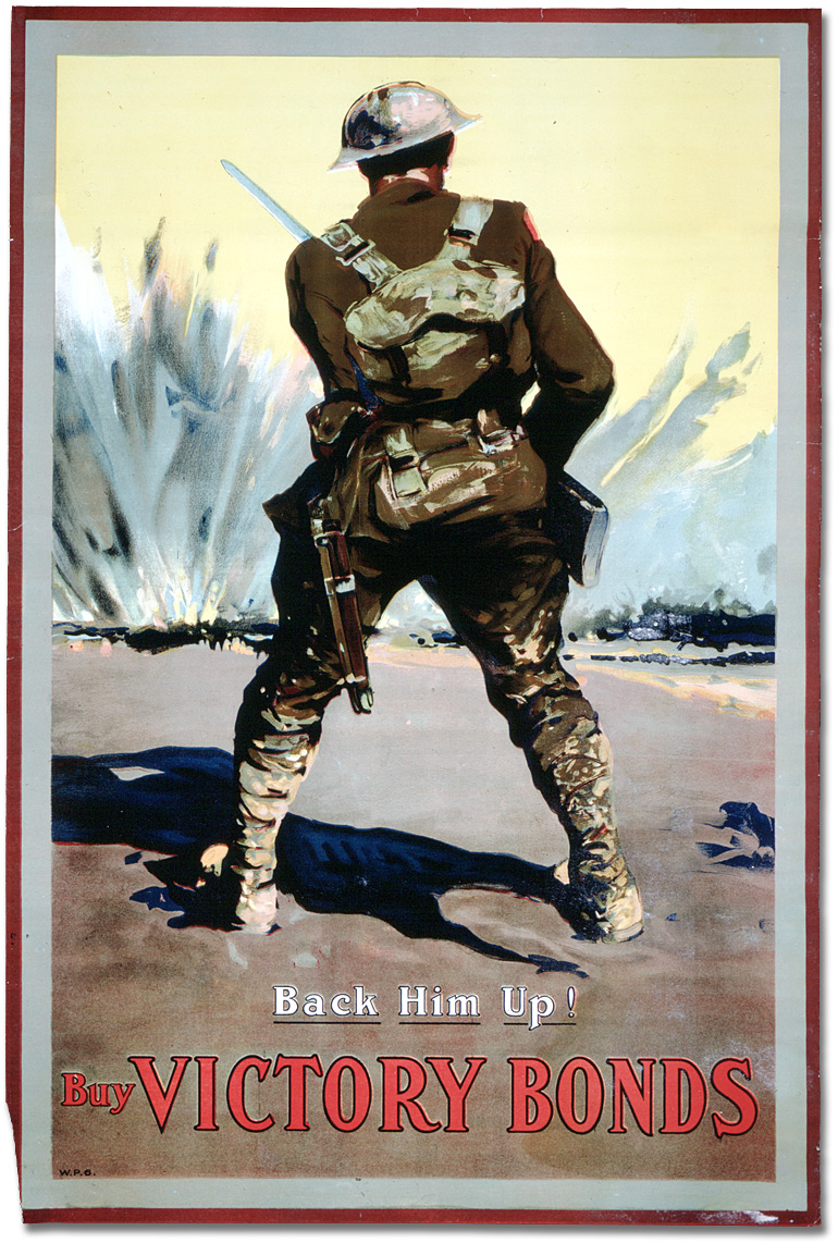 "A soldier on a battlefield. Caption: ""Back Him Up! Buy Victory Bonds."""