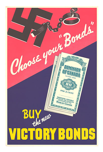 Poster advertising victory bonds. Long description available.