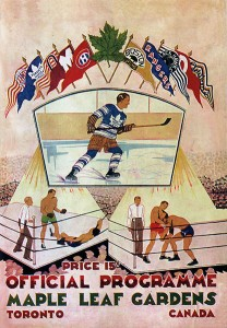 """Respectable but rough. Entertainments at the newly-erected Maple Leaf Gardens are very masculine but also overseen by fair-minded referees. Note that the NHL banners include 10 teams (not the so-called """"Original Six"""" that survived the Depression and WWII). From the Leafs' first match at MLG in 1931."""