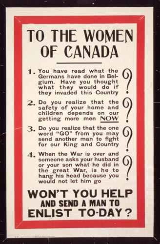 War poster addressed to the women of Canada. Long description available.
