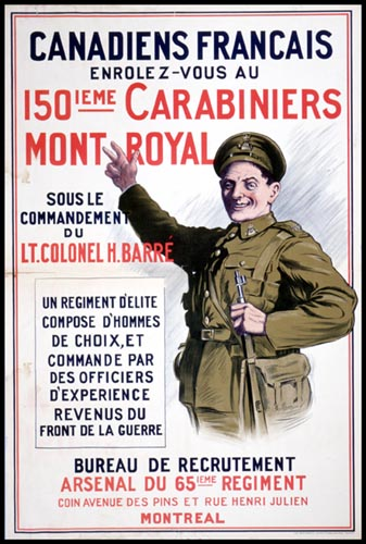 French Canadian recruitment poster for World War I. Long description available.