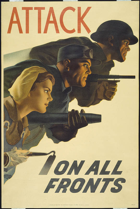 "A soldier with a rifle, a man with a mortar, and a woman with a hoe say to ""Attack on all fronts."""