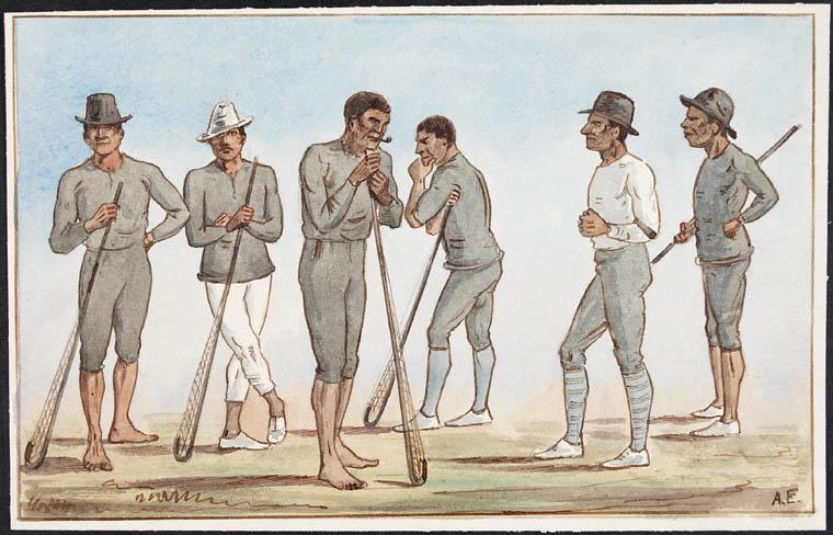 Six Indigenous men lean on lacrosse sticks, looking deep in thought.