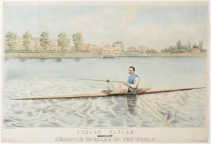 """Ned Hanlan: Champion Sculler of the World,"" a crayon and watercolour lithograph from 1880."