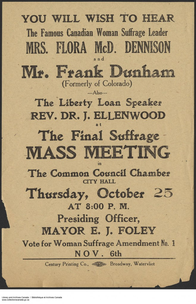 Advertisement for meeting about suffrage. Long description available.
