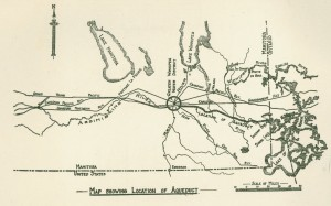 A spider's web of infrastructure radiates outward from Winnipeg, claiming territory and water. Greater Winnipeg Water District Map, 1918. (Image courtesy of University of Manitoba: Archives & Special Collections) https://www.flickr.com/photos/manitobamaps/2538182489/in/photostream/