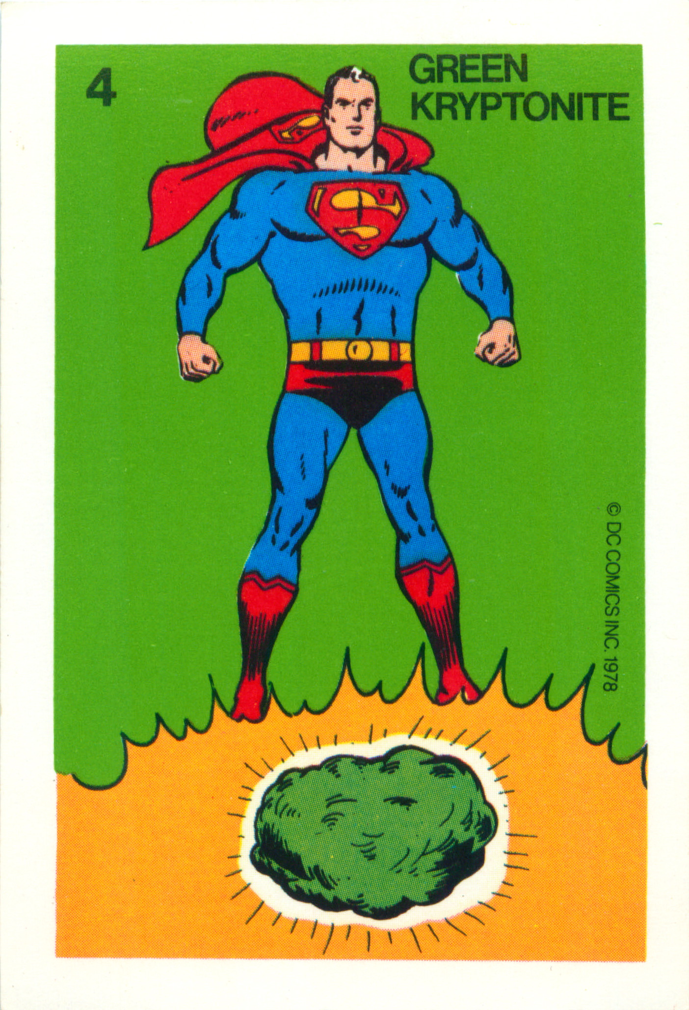 "A man in a blue leotard and red cape poses over a glowing green lump captioned ""green kryptonite."""