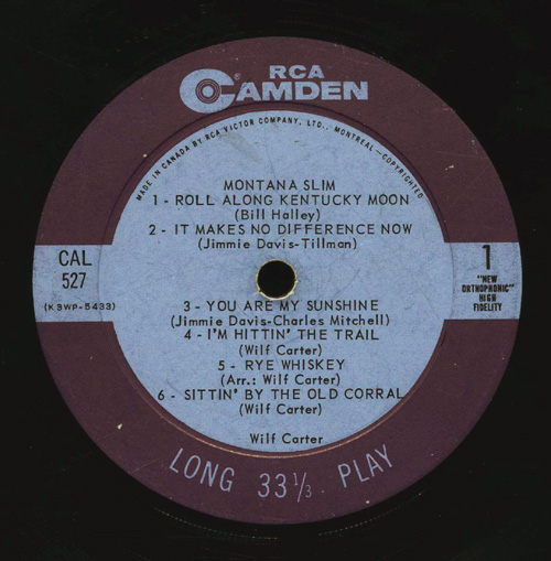 Record by Wilf Carter. Long description available.