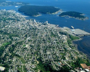 Nanaimo is one of the oldest cities in western Canada but that has not saved it from sprawl. Its metro population of 98,000 in 2015 covers 1,280 km2. Greater Toronto (not Metro) covers 1,751 km2 but contains more than 5 million people. (Author: Ken Walker) https://commons.wikimedia.org/wiki/File:Namaimo_aerial_4.jpg