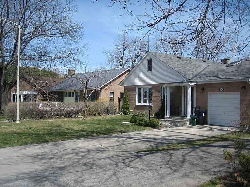 A row of similar suburban houses.