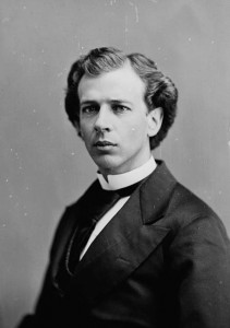 Seen here in his early 30s in 1874, wearing the upright collar that would be his trademark, Laurier in that year would become a cabinet minister.