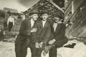 A photo of John Lanquist, Gino Pakkala and Harold Malm Sr. in Sointula, B.C.