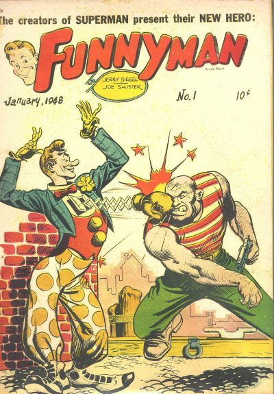 A comic book cover shows a clown's extending boxing glove punching a villain.