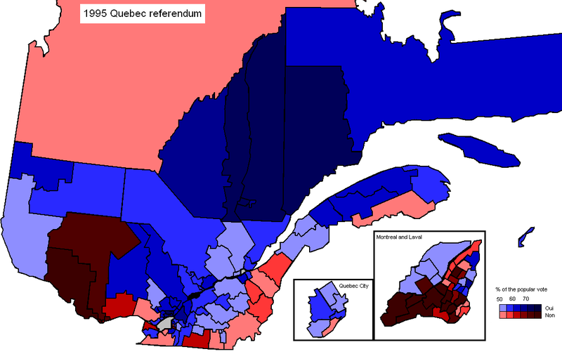 Much of Montreal voted no in the referendum, as did those areas bordering New Brunswick and the US.