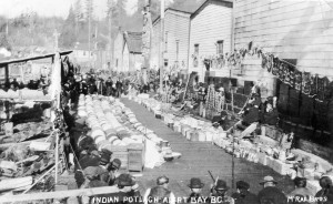 Potlatching continued at Alert Bay (aka 'yalis) until an RCMP crackdown in 1921. (Photo by McRae Brothers. City of Vancouver Archives, AM54-S4-: In P49) http://searcharchives.vancouver.ca/indian-potlach-alert-bay-b-c-2