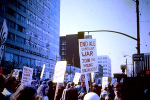 An anti-Vietnam War protest march on Vancouver's West Georgia Street in 1968. https://commons.wikimedia.org/wiki/File:Anti_Vietnam_war_demonstration._Vancouver,_BC._1968.JPG