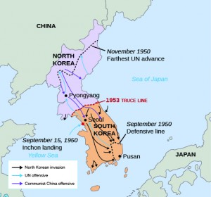 After the initial invasion of South Korea by the North Korean People's Democratic Army, the United Nations established a defensive line in the southern part of the country. The landing at Inchon in September reversed the tide of the war and allowed UN forces under General Douglas MacArthur to retake the city of Seoul, which had fallen to North Korean troops in the early days of the war. (Source: Boundless, U.S. History: The Cold War, http://cnx.org/contents/p7ovuIkl@3.15:OCsuwNr2@3/A-New-World-Order )