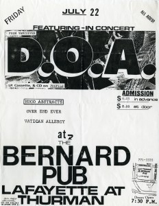 "9.x Canadian westcoast punk rockers, DOA, enjoyed international popularity. The DIY quality of their performances and recordings is echoed in their promotional posters. ""DOA 1988"" by Kopper - http://www.flickr.com/photos/kopper/2275055830/. Licensed under CC BY 2.0 via Commons - https://commons.wikimedia.org/wiki/File:DOA_1988.jpg#/media/File:DOA_1988.jpg"