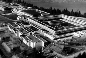 One of many new universities opened to serve the baby boom generation, Simon Fraser University was one of many that opened to unrest and student protests. https://en.wikipedia.org/wiki/File:Sfu_1967.jpg