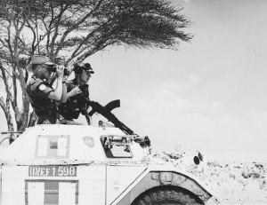 Canadian members of the UN Emergency Force (UNEF) patrolling the border between Egypt and Israel, 1962. (Canada. Dept of National Defence. Library and Archives Canada / PA-122737) http://collectionscanada.gc.ca/pam_archives/index.php?fuseaction=genitem.displayItem&rec_nbr=3194306&lang=eng