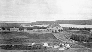 The Fort Qu'Appelle Indian Industrial School was one of the first to open. Seen here ca.1885, with teepees and carts outside the fence. (Photo by O.B. Buell. Library and Archives Canada. PA-182246) http://collectionscanada.gc.ca/pam_archives/index.php?fuseaction=genitem.displayItem&rec_nbr=3194883&lang=eng