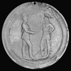 Medals were issued to Aboriginal signatories of the numbered treaties. This 1873 example was given to Muskeekee Eyineer of Manitoba and commemorates Treaty 3. (Library and Archives Canada, Acc. No. 1970-27-8M) http://collectionscanada.gc.ca/pam_archives/index.php?fuseaction=genitem.displayItem&rec_nbr=2851194&lang=eng