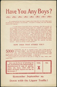 """A good example of the rhetoric used by maternal feminists: an appeal to motherly feeling in the fight against the """"Liquor Traffic"""". (Library and Archives Canada, Acc. No. 1984-4-943 W.C.T.U Dominion) http://collectionscanada.gc.ca/pam_archives/index.php?fuseaction=genitem.displayItem&rec_nbr=2988523&lang=eng"""