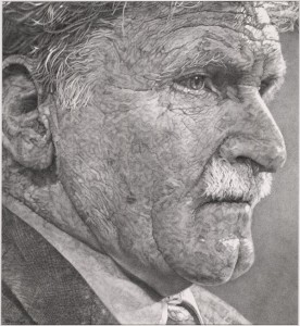 "Artist Elaine Goble's drawing of Roméo Dallaire (""Rwanda has my soul"") captures the personal and emotional burden of the frustrated peacekeeper. (Library and Archives Canada, archival reference number R13185-4, e010752967) http://collectionscanada.gc.ca/pam_archives/index.php?fuseaction=genitem.displayItem&rec_nbr=3959433&lang=eng"