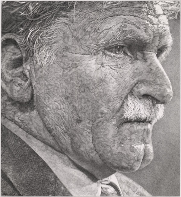 Sketch of a middle-aged man's weary face. His eyes are troubled.