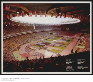 Opening ceremonies at the 1976 Olympics in Montréal, marred by extensive boycotts (only 92 nations participated in the end). Construction cranes can be seen looming over the unfinished trunk of the stadium's tower. (Library and Archives Canada, Acc. No. 1994-434-254) http://collectionscanada.gc.ca/pam_archives/index.php?fuseaction=genitem.displayItem&rec_nbr=3929423&lang=eng
