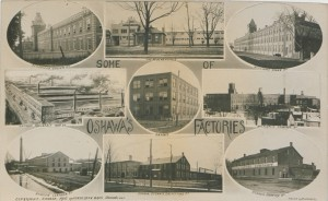 Postcards like this one were a means to promote the industrial culture emerging in towns like Oshawa in 1910. (Canadian Copyright Collection, Picturing Canada Project, British Library) https://commons.wikimedia.org/wiki/File:Oshawa%27s_Factories_(HS85-10-22386).jpg