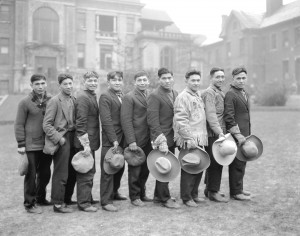 Members of the Alkali Lake Braves hockey team in Vancouver, 1932. A few years later liquor became available to the Esketemc and an alcoholism epidemic began. The band's collective recovery began in the 1970s and has become legendary, although recovery from cultural genocide, abuses in schools, and poverty continues to be a work in progress. (Photo by Stuart Thomson, City of Vancouver Archives, AM1535-: CVA 99-4112) http://searcharchives.vancouver.ca/indian-hockey-team-from-alkali-lake