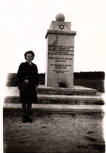 A Canadian nurse at the site of Bergen-Belsen shortly after it was relieved by Canadian and British forces.
