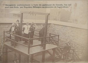 The role of the Canadian state included the punishment of crimes and deviance. The ability to assign the death penalty was reserved to the federal government until it was abolished in 1976. In this 1901 photograph from inside the jail at Hull, Stanislaus Lacroix (hooded) prepares to be hanged while observers watch from neighbouring rooftops. (Canadian Copyright Collection, Picturing Canada Project, British Library) https://commons.wikimedia.org/w/index.php?title=Category:Images_from_the_Canadian_Copyright_Collection_at_the_British_Library&filefrom=11544%0AWaiting+Woman+in+pioneer+costume+posed+in+tranquil+country+scene+%28HS85-10-11544%29.jpg#/media/File:L%27execution_de_Lacroix_(HS85-10-13176).jpg