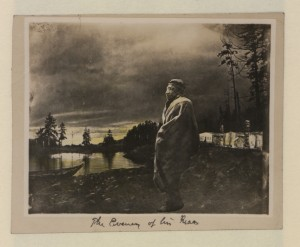 "This is a strange pastiche from a pre-Photoshop era. What ""The Evening of his Race"" conveys, however, is the belief of many non-Aboriginals that First Nations' days were numbered. (Canadian Copyright Collection, Picturing Canada Project, British Library) https://commons.wikimedia.org/wiki/File:The_evening_of_his_race_(HS85-10-27674).jpg"