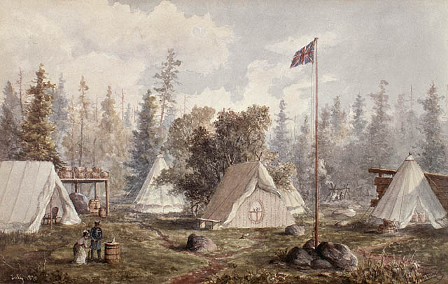 Watercolour of tents in a wooded area. Union Flag flies above.