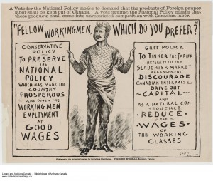 The Conservatives campaign for the workingmen's vote, 1891. (Library and Archives Canada, 1983-33-1095) http://collectionscanada.gc.ca/pam_archives/index.php?fuseaction=genitem.displayItem&rec_nbr=3939876&lang=eng