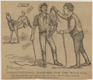 "Senate reform has a long pedigree. Cartoonist J.W. Bengough shows an ""Irresponsible Senate"" bucking in the background while Laurier holds out a harness labelled ""Senate Reform"". Jack Canuck (the voter) holds a whip marked ""Responsible Government"" and wonders, ""is the horse worth the halter?"" Abolition, in other words, is an option. (Library and Archives Canada, R13244-171) http://collectionscanada.gc.ca/pam_archives/index.php?fuseaction=genitem.displayItem&rec_nbr=3964533&lang=eng"
