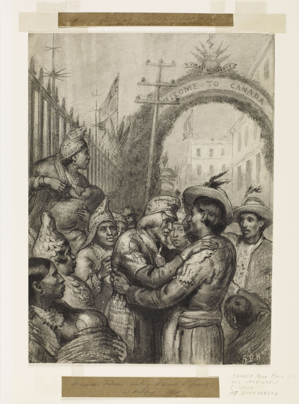 """Drawing of a group of Indigenous people receiving a lord. Behind is a """"Welcome to Canada"""" arch."""