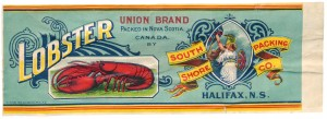Figure 8.25 Packing crate art and design became an industry in its own right in the early 20th century, whether the produce was Okanagan hard fruit or Nova Scotian lobster meat. Nova Scotia Archives.