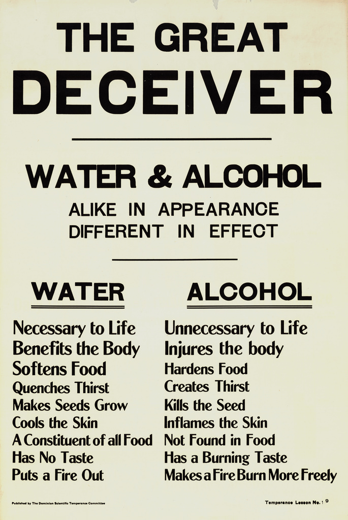Poster comparing water and alcohol. Long description available.